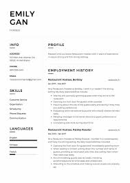 Resume For Hostess Resume Hostess Resume Sample Free Cover Letter