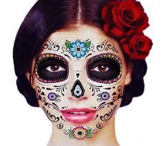 com glitter fl day of the dead sugar skull temporary face tattoo kit pack of 2 kits beauty