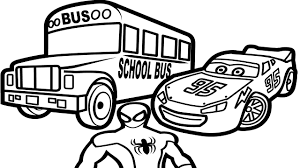 Lightning Mcqueen with Bus and Spiderman Coloring Pages For Kids ...
