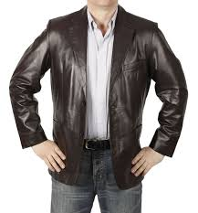 semi fitted mens brown leather blazer sl10032