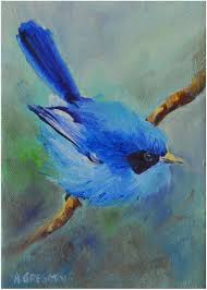 a small blue miracle is a daily painting it is oil on canvas and is a small blue bird on a branch