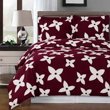 modern fl burdy white cotton duvet cover set