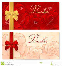 voucher gift certificate coupon template rose royalty gift certificate voucher coupon template bow f stock image