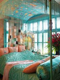 bohemian bedroom home furniture luxurious boho. Brilliant Four Poster Canopy Bed On Bohemian Bedroom Ideas Plus Standing Mirror Also Blue Shutter Window Home Furniture Luxurious Boho