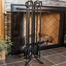 wrought iron fireplace tools awesome uniflame 5 piece tool set loop handles hayneedle intended for