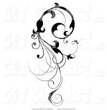 Black Scroll Design Clip Art Clip Art Of A Vertical Black Silhouetted Scroll Vine Design