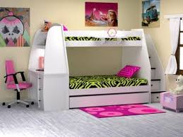 bunk bed with slide and desk. Decorating Magnificent Girls Loft Bed With Stairs 3 Bunk Slide Desk And