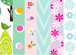 Free Bright Floral Papers Paper Craft Download