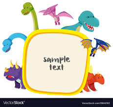Cute Template Border Template With Cute Dinosaurs Royalty Free Vector