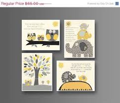 canvas prints for baby room. Kids Wall Art Nursery Decor // Baby Boy Room Set Of 4 Prints Yellow Gray Elephant, Print Canvas For P