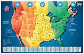 Time Map North America Laminated Gloss Full Color Time Zone Area Code Map Includes Reverse Lookup Wall Size Large 24 X 35 Country