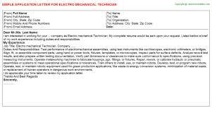 Electro Mechanical Technician Job Application Letter