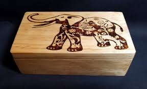 Elephant Design Gifts Handmade Wood Burned Elephant Gift Box Keepsake Box