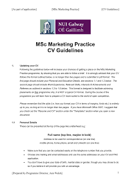 Cv Guidelines Msc Marketing Practice Cv Guidelines As Part Of Application