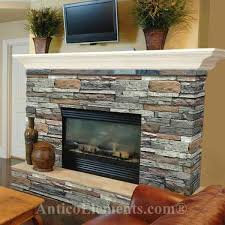 refacing fireplace with wood stacked stone fireplace but with a dark cherry wood mantl on refacing