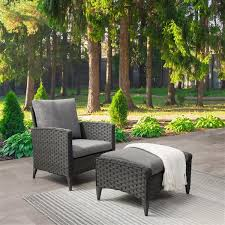 corliving rattan chair and stool patio