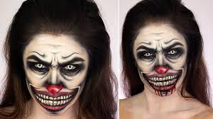 creepy clown face paint make up tutorial