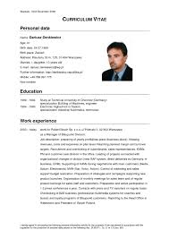 Curriculum Vitae Bei Cv Vitae Resume Mentallyright Org