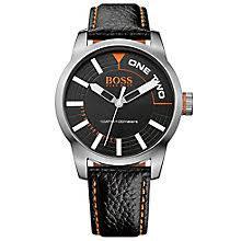 boss orange watches h samuel hugo boss orange men s stainless steel black leather watch product number 2922657