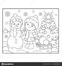 Kleurplaat Pagina Overzicht Van Meisje Met Snowman En De Kerstboom