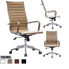 2xhome tan executive ergonomic high back modern office chair ribbed pu leather swivel for manager conference
