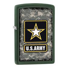 <b>Зажигалка ZIPPO US</b> Army, латунь с покрытием Green Matte ...