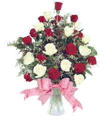24 red and white roses