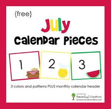 Calendar Numbers For Pocket Chart July Pocket Chart Calendar Pieces Freebie Printable