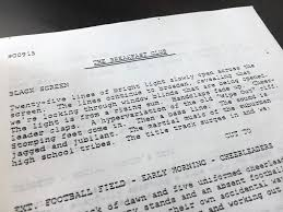 original breakfast club screenplay found in district cabinet  original breakfast club screenplay found in district 207 cabinet during move park ridge herald advocate