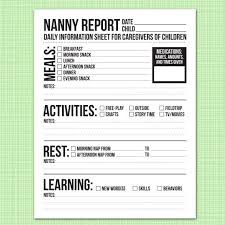 Nanny To Do List Template Nanny Report Daily Information Sheet For Caregivers Of