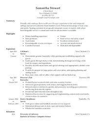 Server Resume Samples Best Restaurant Waiter Resume Sample Sample Resume For Restaurant Waiter