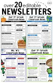 Teachers Newsletter Templates Editable Newsletter Templates Teaching Classroom
