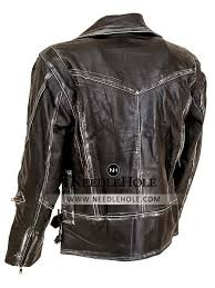 mens military fitted distressed leather jacket with belted hem and zippered sleeves