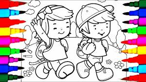 Learn Colors By Drawing Pages Little School Boy And Girl Coloring