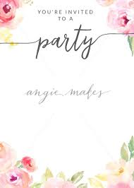 Party Invitation Background Image Blank Party Invitation Background With Watercolor Flowers Angie