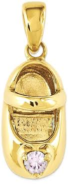 ice carats 14k yellow gold 3 d june synthetic stone engraveable baby shoe pendant charm necklace birthstone and 68751