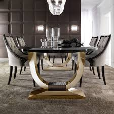 Designer Black Dining Chairs Stylish Luxury Dining Table Italian Black Lacquered Gold
