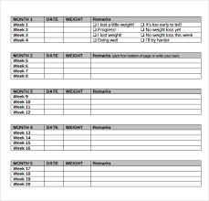 weekly weigh in charts sample weight loss chart 7 documents in pdf