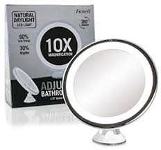 led makeup mirror battery. fancii daylight led 10x magnifying makeup mirror - 8.0\u0026quot; large lighted travel vanity led battery p
