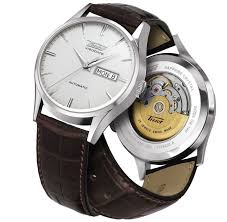 tissot heritage visodate automatic t0194301603101 image watch tissot heritage visodate automatic watch silver dial and brown leather strap