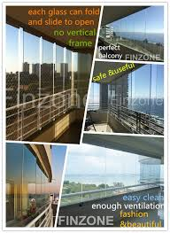 panoramic frameless glass folding curtain door with ce standard quality