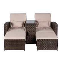 Outsunny 3-Piece Outdoor Rattan Wicker Chaise Lounge Furniture Set - April  10% off - Clearance