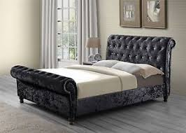black upholstered sleigh bed. Image Is Loading Bordeaux-Upholstered-Sleigh-Black-Velvet-Crystal-6FT-180cm- Black Upholstered Sleigh Bed