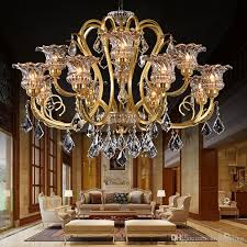 european style crystal chandelier villa duplex building living room chandelier hotel lobby lights all copper american staircase pendant lamp cool