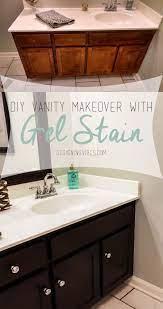 Transforming Bathroom Vanity With Gel Stain Java Gel Stain Vanity Makeover Bathroom Makeover Bathroom Vanity Makeover