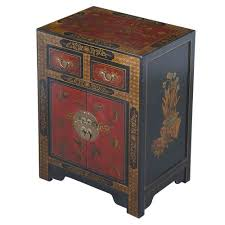 furniture motifs. EXP Handmade Oriental Furniture 27-Inch Antique Style Black Leather End Table With Nature Motifs From Asia Exports Corp DBA D