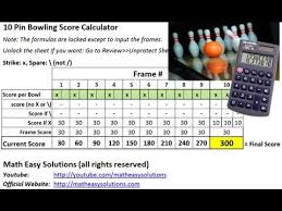Bowling Spreadsheets 10 Pin Bowling Calculator Free Download Youtube