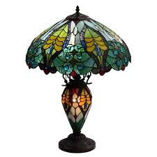 Discount Tiffany Style Lighting Amora Lighting Tiffany Style Floral Design Table Lamp Double
