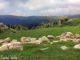 Cloudy afternoon outdoor nature green hills mountains