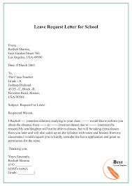 Sample Request Letter Template For Leave Vacation Holiday